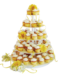 Banded cupcake tree with cupcakes